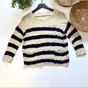Olive and Oak navy stripe sweater size small